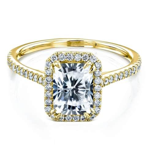 Annello by Kobelli 14k Gold 1.8ct Radiant Moissanite and Lab Grown Diamond Halo Engagement Ring (HI/VS, DF/VS)