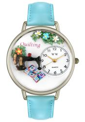 Whimsical Women's Quilting Baby Blue Leather Strap Watch