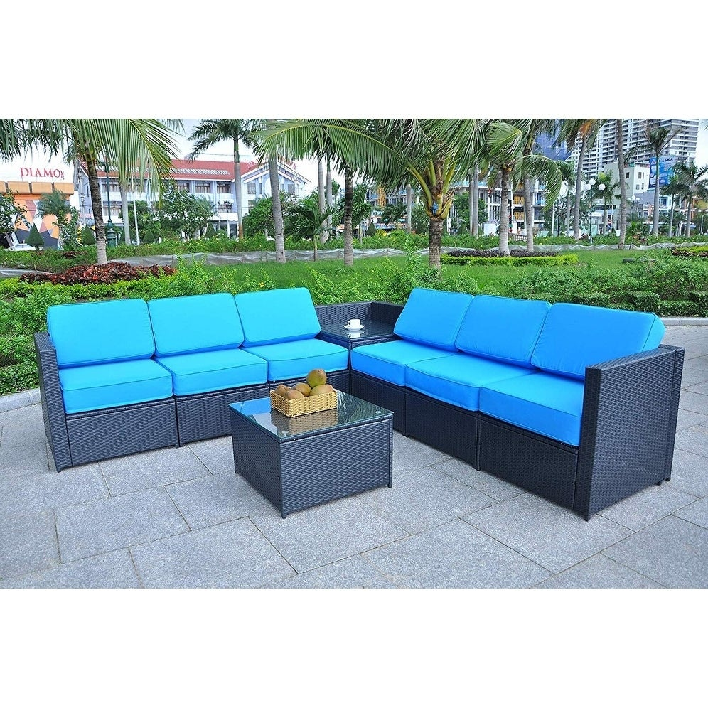 Mcombo Outdoor Patio Black Wicker Furniture Sectional Set All Weather Resin Rattan Chair Conversation Sofas 6085 8pc