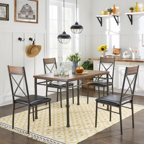Cillian Brown Finish 5-Piece Dinette Set by iNSPIRE Q Classic
