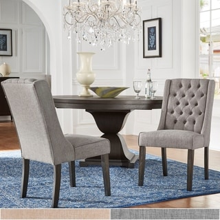 Evelyn Turkish Coffee Finish Linen Tufted Chairs (Set of 2) by iNSPIRE Q Artisan