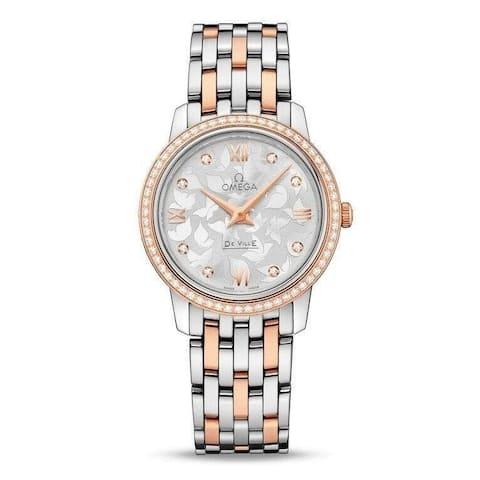 Omega Women's 424.25.27.60.52.001 'De Ville Prestige Butterfly' Two-Tone 18kt Rose Gold and Stainless Steel Watch