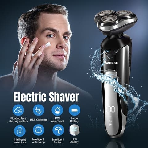 Electric Shaver Razor Beard Trimmer Rotary Shaver Full Body Water Wash Rechargeable - Black - 8 * 4 inch
