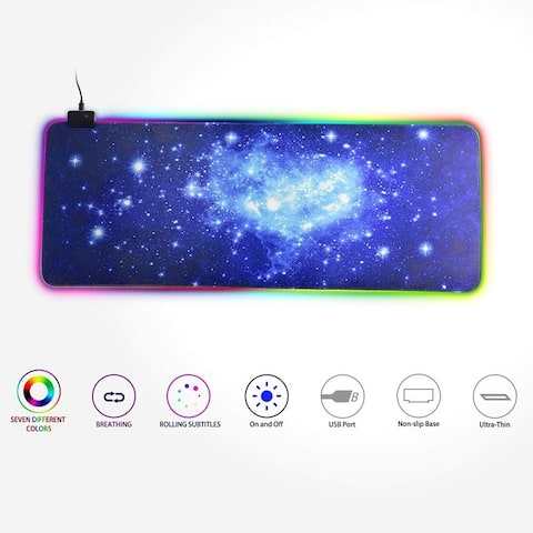 RGB Colorful Gaming Mouse Pad LED Lighting 7 Colors Large Extended Non-Slip for PC Laptop 350x250x4mm / 300x800x4mm