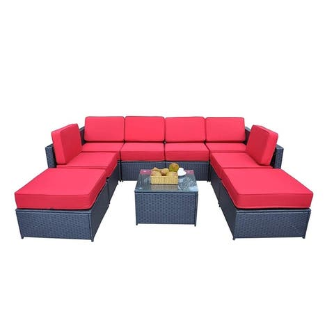 Mcombo Outdoor Patio Black Wicker Furniture Sectional Set All-Weather Resin Rattan Chair Conversation Sofas 6085 9PC