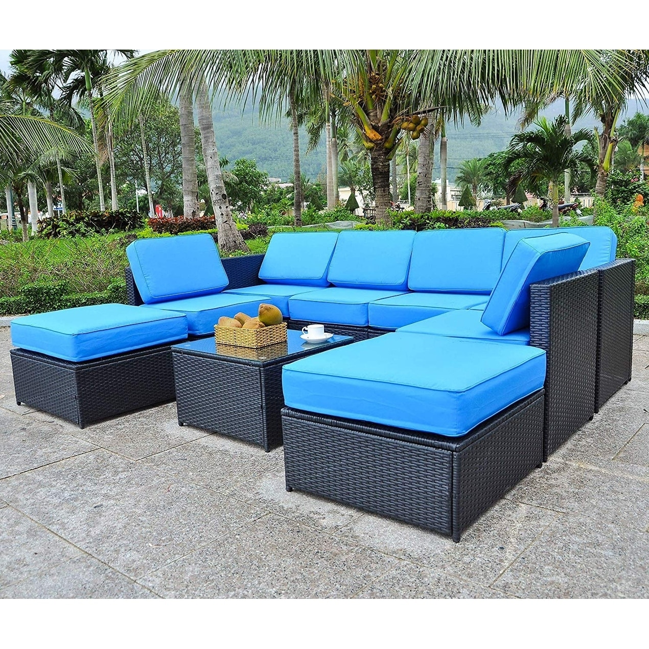 Mcombo Outdoor Patio Black Wicker Furniture Sectional Set All Weather Resin Rattan Chair Modular Sofas With Water Resistant Cushion Covers 6085 Middle Chair Gray Patio Seating Sofas