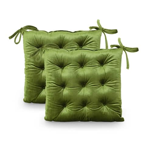 Foxhall Tufted Velvet Dining Chair Cushions (Set of 2) by Christopher Knight Home