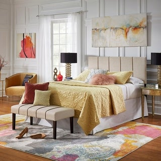Wynne Beige Linen Queen Headboard and Bench Set by iNSPIRE Q Classic