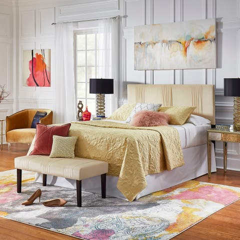 Gia Cream Velvet Queen headboard and Bench Set by iNSPIRE Q Bold