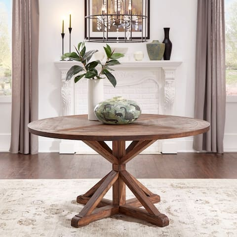 Benchwright Brown Finish Round Dining Table by iNSPIRE Q Artisan