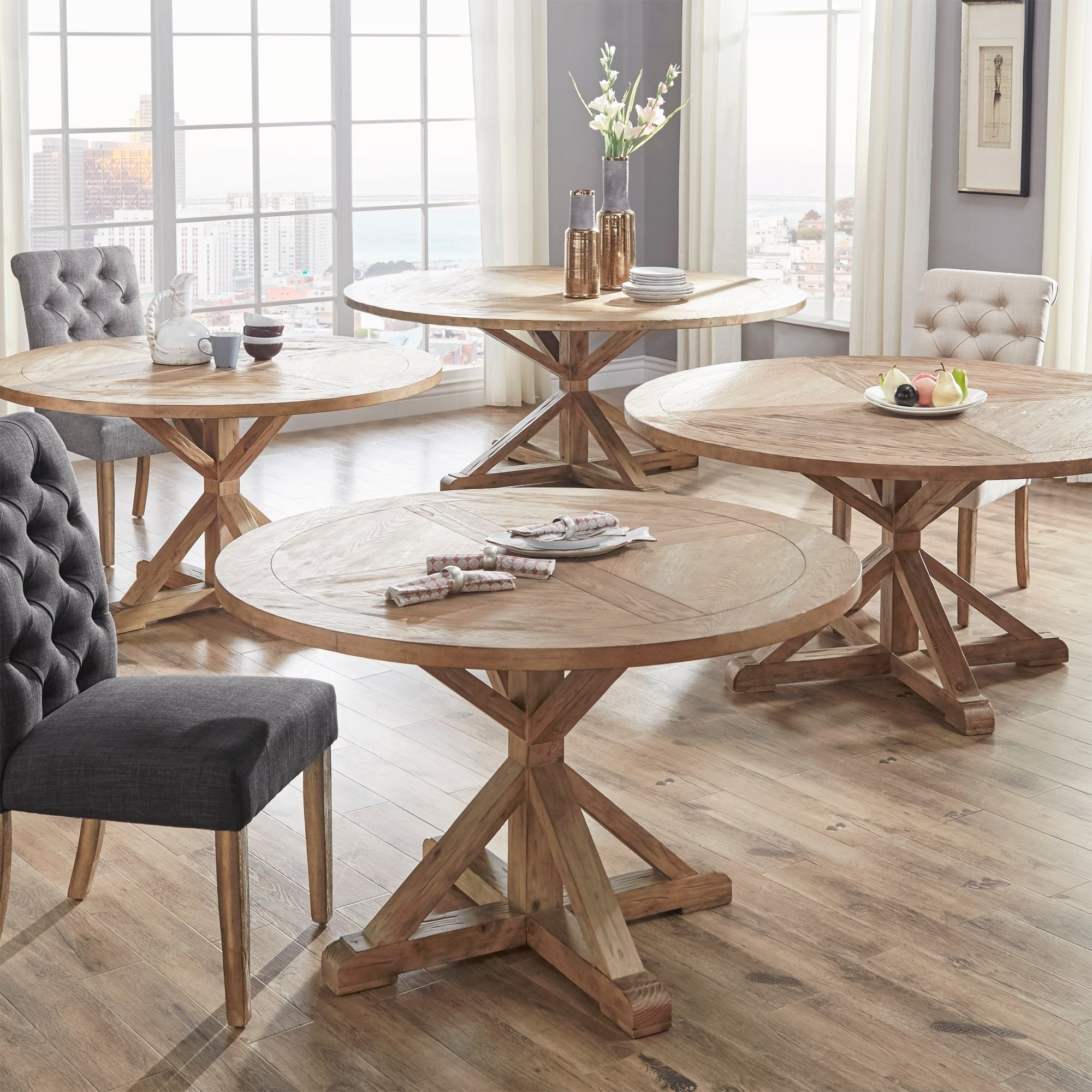 Benchwright Antique Grey Oak Round Dining Table By Inspire Q