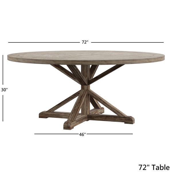 Benchwright Antique Grey Oak Round Dining Table By