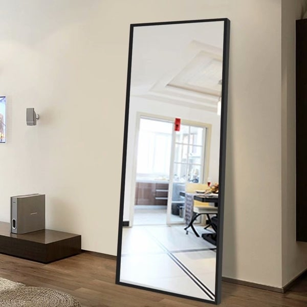 Full Length Floor Mirror Standing Leaning or Wall-Mounted Thin Frame - N/A