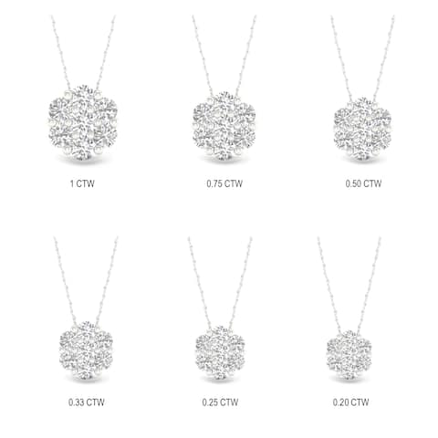 IGI Certified 1/5ct-1ct TDW Diamond Cluster Pendant Necklace in 10k White Gold by De Couer