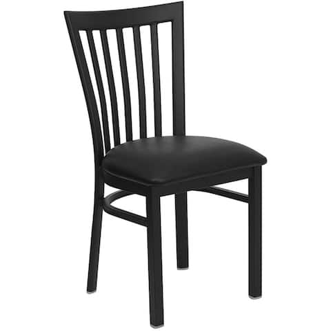 Offex Black School House Back Metal Restaurant Chair with Black Vinyl Seat - N/A