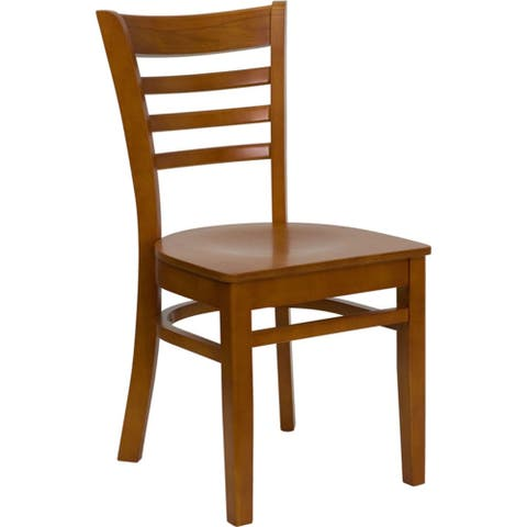 Offex Cherry Finished Ladder Back Wooden Restaurant Chair - N/A