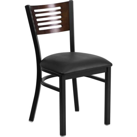 Offex Black Decorative Slat Back Metal Restaurant Chair with Walnut Wood Back and Black Vinyl Seat - N/A
