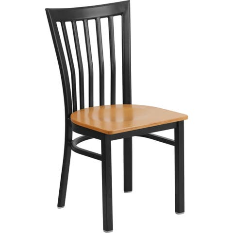 Offex Black School House Back Metal Restaurant Chair with Natural Wood Seat - N/A