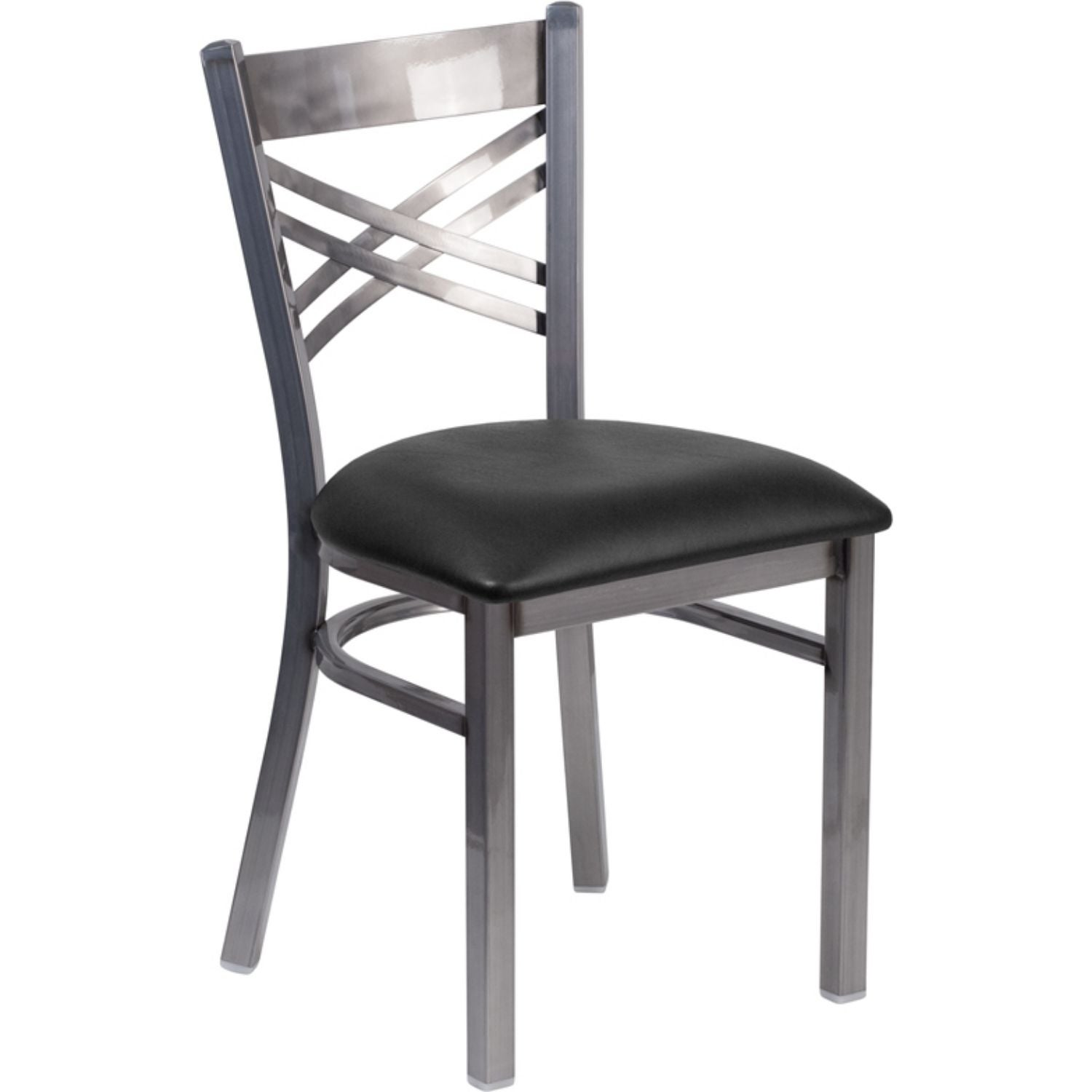 "Offex Clear Coated ""X"" Back Metal Restaurant Chair with Black Vinyl Seat"