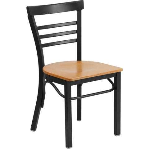 Offex Black Ladder Back Metal Restaurant Chair with Natural Wood Seat [OFX-368662-FF] - N/A