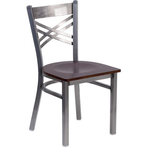 """Offex Clear Coated """"X"""" Back Metal Restaurant Chair with Walnut Wood Seat - N/A"""