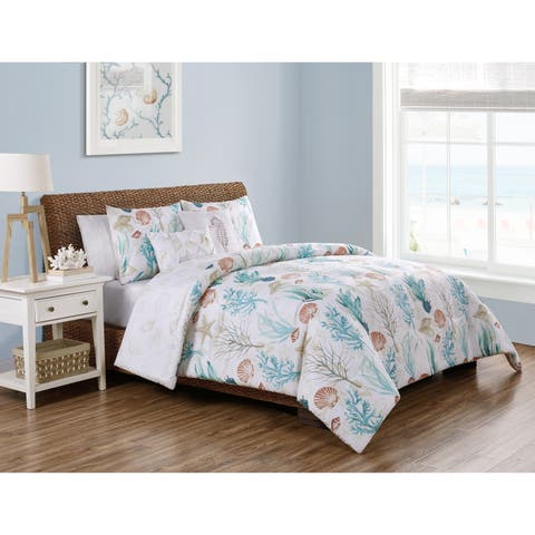 VCNY Home Coral Reef Reversible Taupe Duvet Cover Set