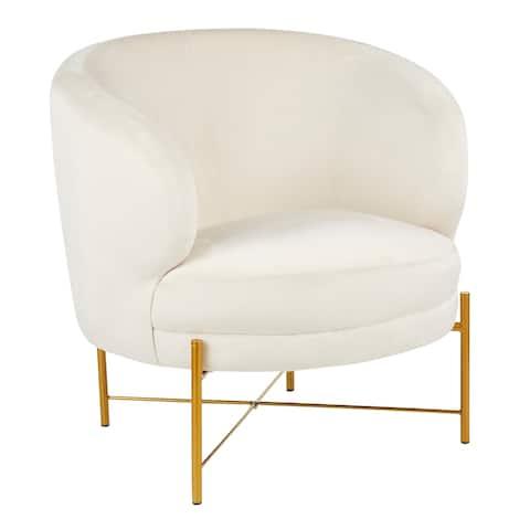 Chloe Accent Chair in Velvet & Gold Metal