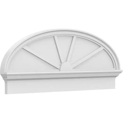 "24""W x 12-7/8""H x 2-3/4""P Elliptical 4 Spoke Architectural Grade PVC Combination Pediment"