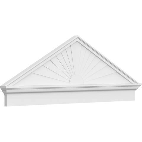 """24""""W x 12-7/8""""H x 2-3/4""""P (Pitch 6/12) Peaked Cap Sunburst Architectural Grade PVC Combination Pediment"""