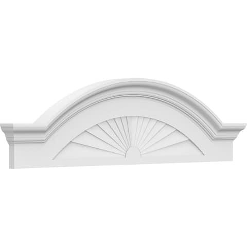 """24""""W x 7""""H x 2-1/2""""P Segment Arch W/ Flankers Sunburst Architectural Grade PVC Pediment"""