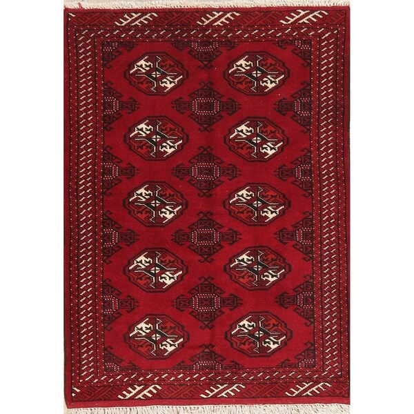 """Balouch Bokhara Rug Border Oriental Hand-Knotted Foyer Carpet - 4'8"""" X 3'4"""""""