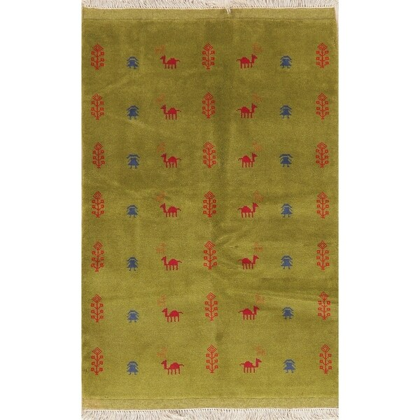 """Tribal Hand Knotted Carpet Solid Gabbeh Shiraz Persian Wool Rug - 4'10"""" X 3'6"""""""