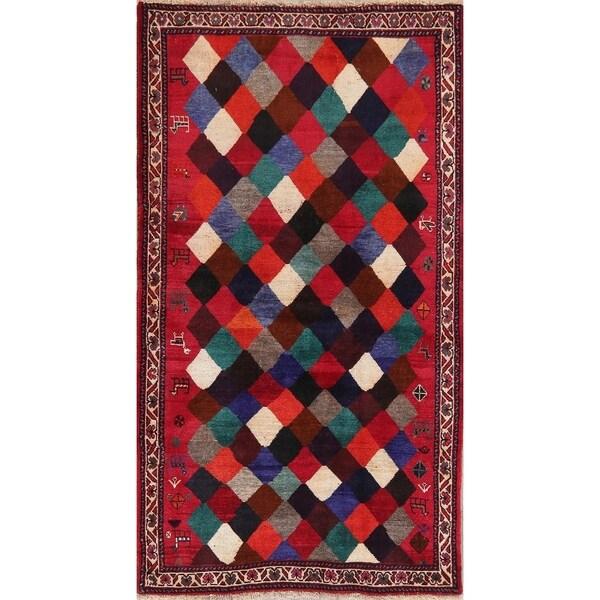 "Gabbeh Shiraz Persian Tribal Hand Knotted Geometric Colorful Rug - 6'4"" x 3'7"""