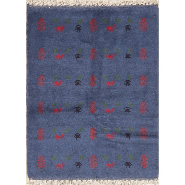 """Tribal Solid Hand Knotted Gabbeh Shiraz Carpet Persian Wool Rug - 4'6"""" X 3'7"""""""