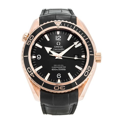 Omega Men's 222.63.46.20.01.001 'Seamaster Planet Ocean' Black Leather Watch
