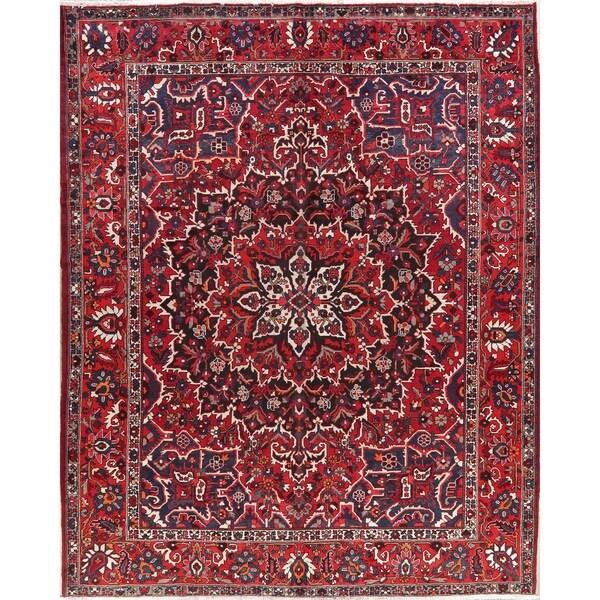 "Bakhtiari Vintage Persian Oriental Hand Made Wool Medallion Rug - 12'8"" X 10'2"""