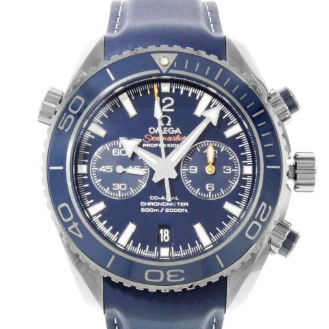 Omega Men's 232.92.46.51.03.001 'Seamaster Planet Ocean' Chronograph Blue Leather Watch