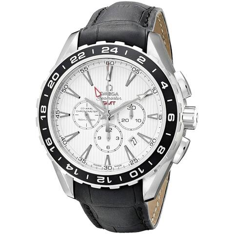 Omega Men's 231.13.44.52.04.001 'Seamaster Aqua Terra' Chronograph Black Leather Watch
