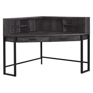"""Computer Desk - 48""""L / Black Reclaimed Wood Corner"""