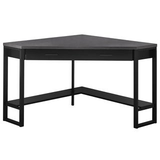"Computer Desk - 42""L / Black / Grey Top Corner / Black"