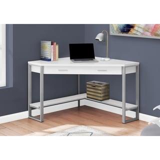 Copper Grove Amelsteen 42-inch White and Silvertone Corner Computer Desk