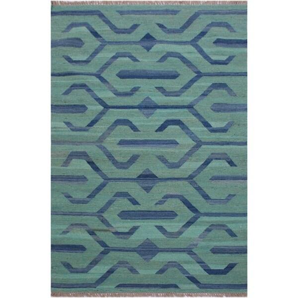 "Kilim Angeliqu Green/Blue Hand-Woven Wool Rug- 3'2 x 4'11 - 3'2"" x 4'11"""