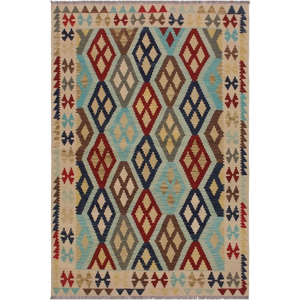 """Kilim Candy Ivory/Brown Hand-Woven Wool Rug- 5'3 x 6'8 - 5'3"""" x 6'8"""""""