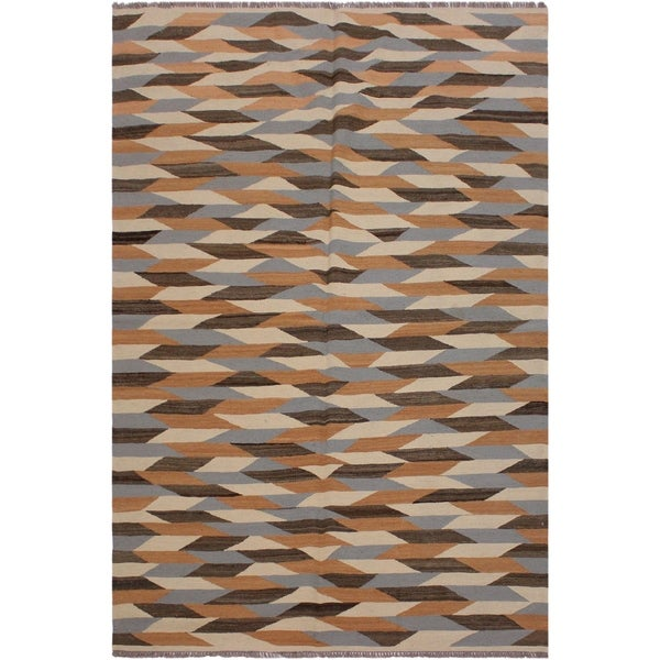 "Kilim Bettina Ivory/Gray Hand-Woven Wool Rug- 4'8 x 6'9 - 4'8"" x 6'9"""