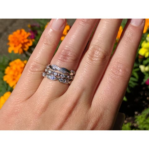 Sterling Silver 3/4 CT Cubic Zirconia 3 Piece Anniversary Stackable Ring Set - Fashion Ring Set