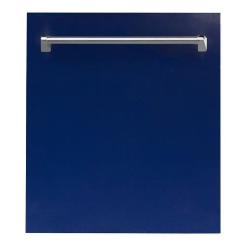 24 in. Top Control Dishwasher in Blue Gloss &Traditional Style Handle