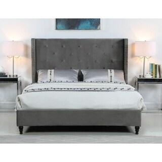 Best Master Furniture Velvet Wingback Panel Bed