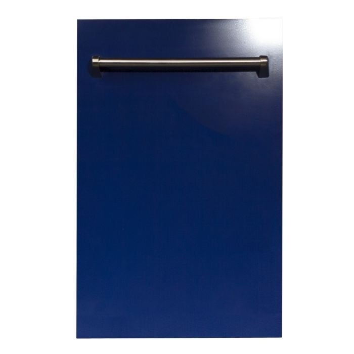 Zline Kitchen and Bath 18 in. Top Control Dishwasher in Blue Gloss &Traditional Style Handle (Blue)