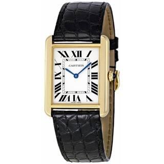 Cartier Women's W5200002 'Tank Solo' Black Leather Watch