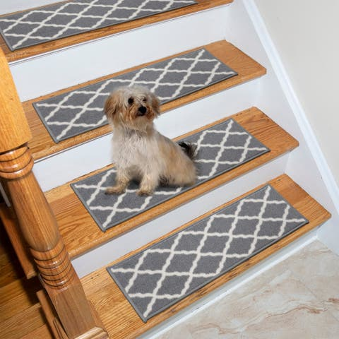 Ottomanson Geometric Trellis Design Grey Stair Treads